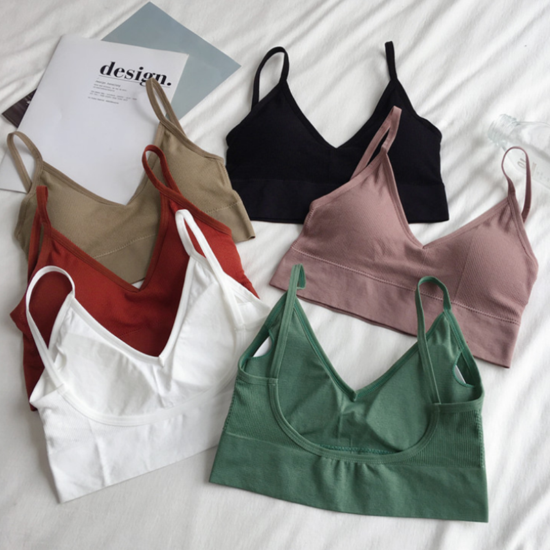 Women Sexy Crop Tops Bra Tube Top Female Streetwear Sleeveless Seamless Sports Bra Crop Camis Top Tee Bandeau Top Basic Tank