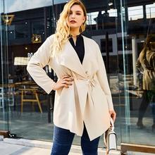 XL-4XL Plus size Autumn Women Trench Coat Vintage Turn Down Collar Long Sleeve Outwear Office Lady Big Large Size OL Trench Coat spring autumn new big size long sleeve lace hooded trench coat large size ladies draw string loose lace elegant coat red black