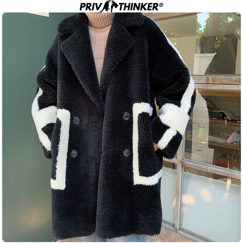 Privathinker 2019 Winter Men Long Suede Plush Parka Jacket Male Fashion Loose Warm Outwear Coat Male Streetwear Thicken Oversize