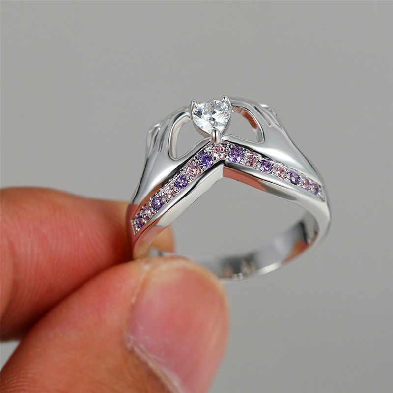 ייחודי נקבה יד קטן לב האהבה הקלטית טבעת חמוד כסף סגול ורוד אבן טבעת אופנה אהבת אירוסין טבעות לנשים