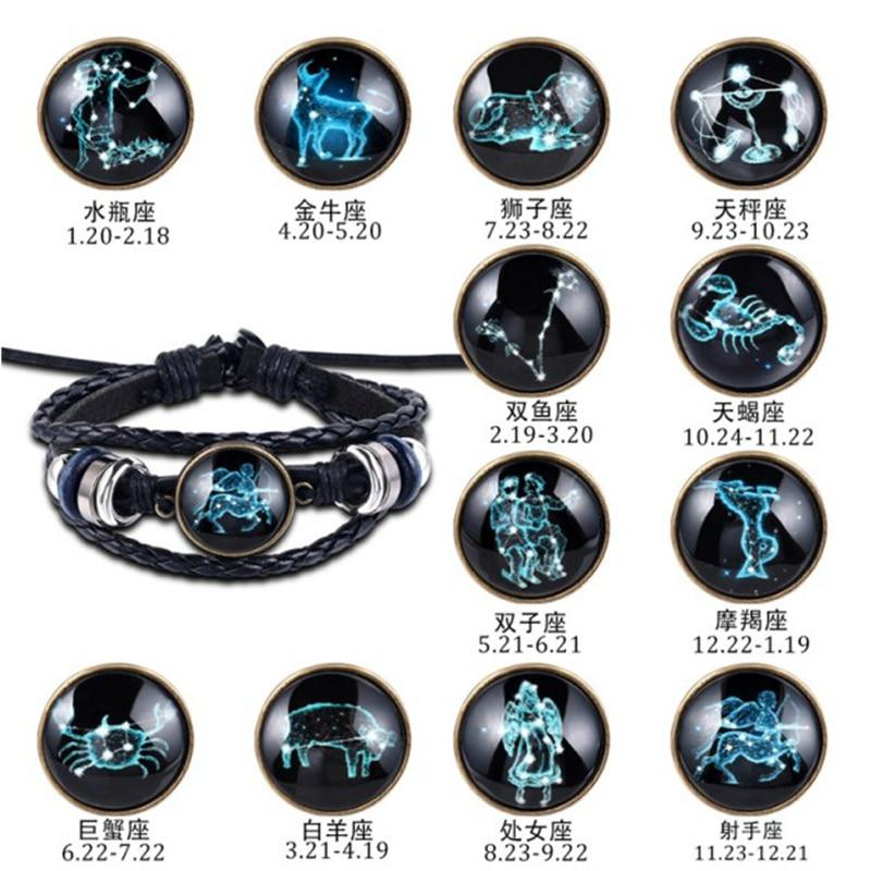 12 Constellation Luminous Bracelet Woman Men Leather Bracelet Charms Bracelets Aries Leo Cancer Virgo Scorpio Libra Jewelry Gift