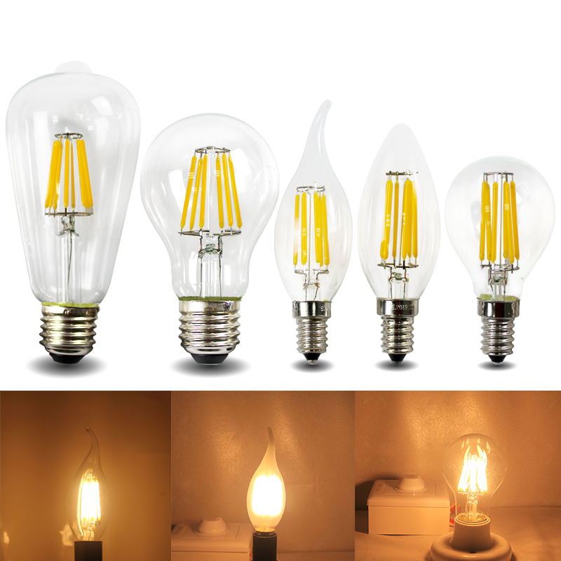 E12 E14 E26 E27 B22 Led Filament Light Bulb 2w 4w 6w 8w 110v 220v 230v Frosted Glass Candle Flame Lamp Edison Vintage