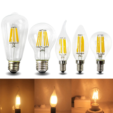 Edison E12 E14 E26 E27 B22 led filament light bulb 2w 4w 6w 8w Frosted glass candle flame bulbs vintage 110v 220v lamp цена и фото