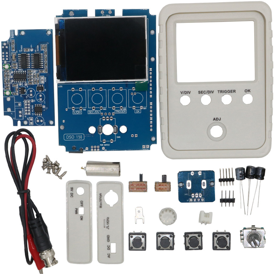 Tech DSO150 15001K DIY Kit Digital Oscilloscope Unassembled With Housing DSO-SHELL With Alligator Clips Case Cover