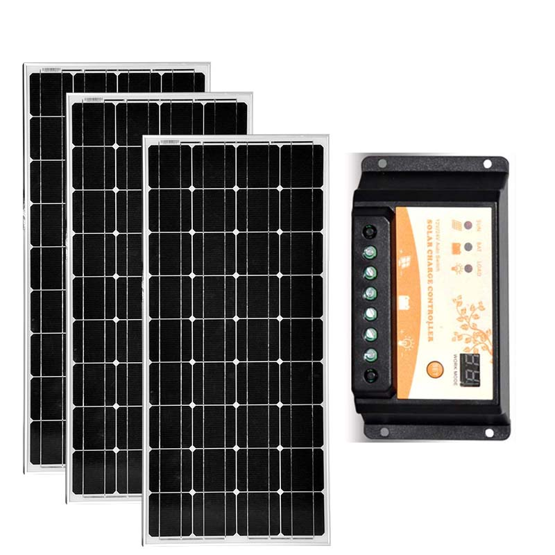 Solar Panels Kit 300w Solar Plate 100w 12v 3 Pcs Solar Charge Controller 12v/24v 20A Caravan Car Camping Boat Motorhomes RV LED