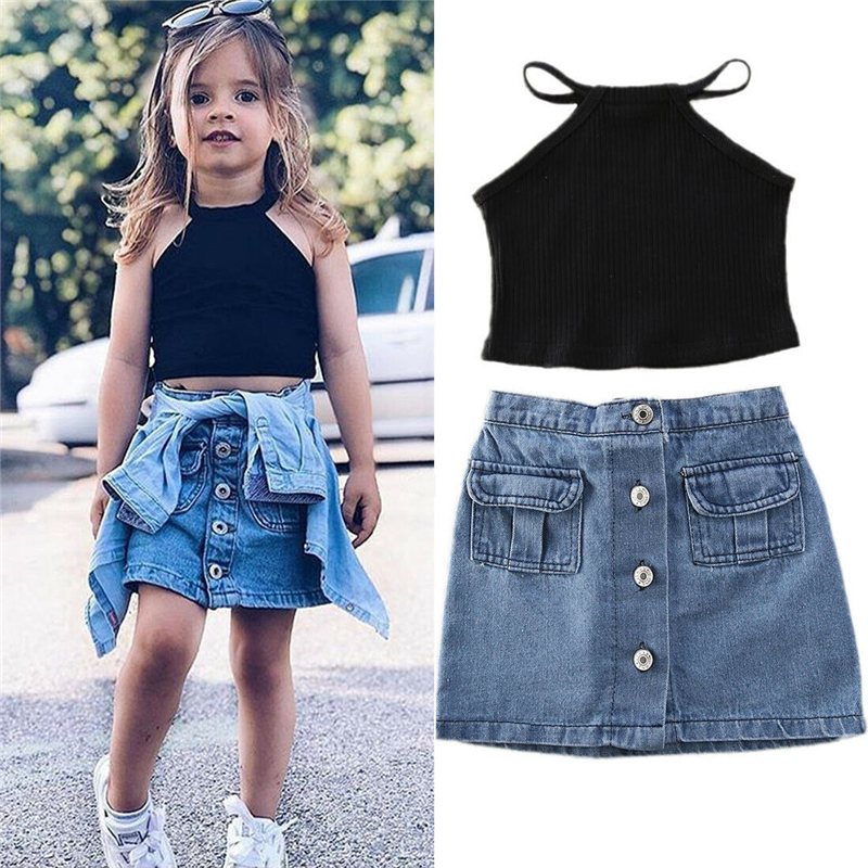 Toddler Kids Baby Girl Off Shoulder Lace Halter Crop Tops Ruffle Denim Skirt Dress Outfits Summer Clothes Set