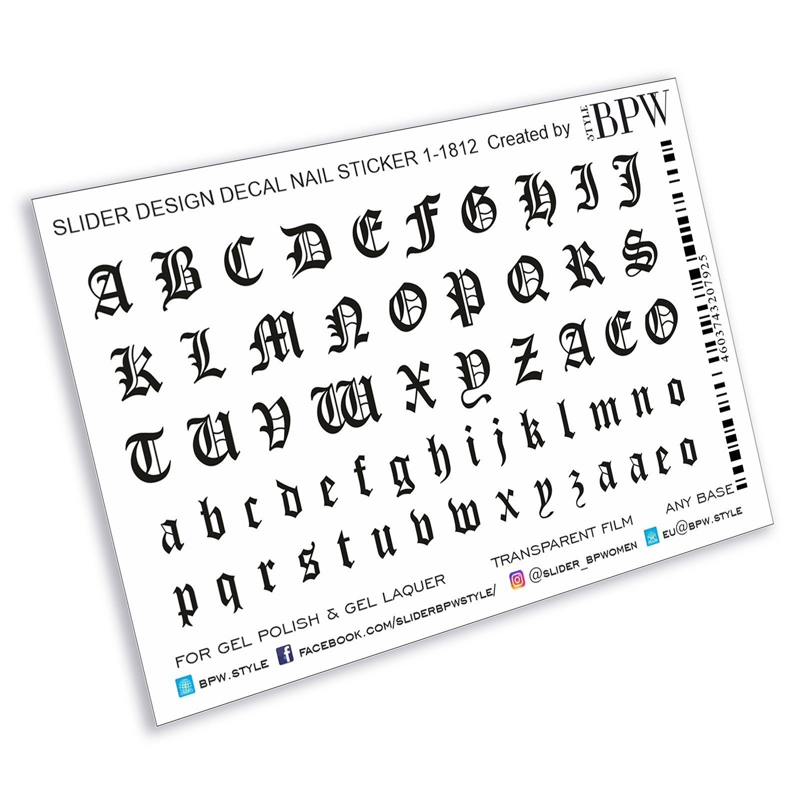 Slider Design Gothic Font, BPW. Style, Water Stickers On Nails, Sd1-1812