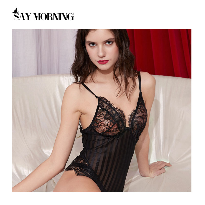 SAY MORNING High Quality Lace Underwear Splicing Stripe Bodysuit Comfort Breathable Perspective One Piece Sexy Lingerie