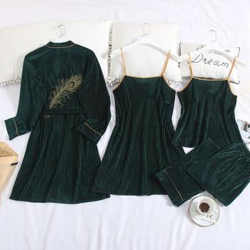 New Women Velvet 4 Pieces Pajamas Set Warm Sexy Lace Pajamas Winter Sleepwear Sling Nightdress Homewear M-XL