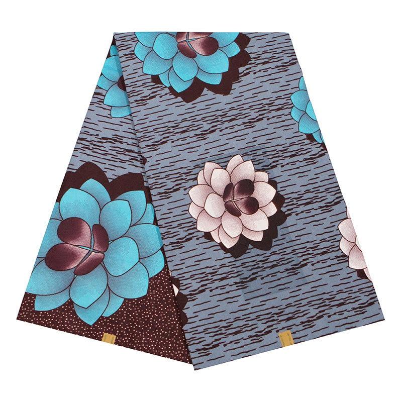 2019 Latest Arrivals African High Quality Nigeria Ankara Veritable Wax Blue Flowers Printed Gray Fabric 6Yards