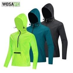 WOSAWE Men's Windproof Cycling Jacket Reflective Hooded Full Zipper Windbreaker Long Sleeve MTB Jackets Outdoor Sports Coat