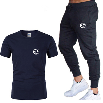 Fashion sports T-shirt mens summer short-sleeved suit wholesale solid color printed track and field fitness clothes
