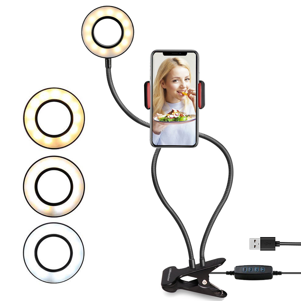 2-in-1LED Ring Cell Phone Holder With LED Selfie Ring Light For Live Stream Phone Clip Holder Adjustable Desk Lamp Makeup Light
