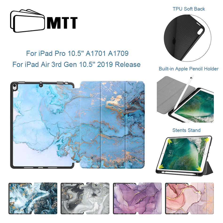 MTT Tablet Case For IPad Pro Air 10.5 Inch 2019 Marble Texture PU Leather + Soft TPU Back Smart Cover Shell With Pencil Holder