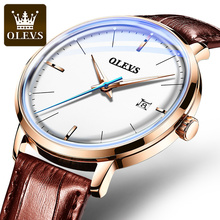 OLEVS Top Brand Fashion Sports Automatic Watches Leather Strap Waterproof Calendar Mechanical Watches Watches Relogio Masculino