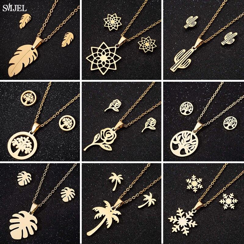 Женское винтажное ожерелье SMJEL, ожерелье из нержавеющей стали в богемном стиле, с цветами, деревом жизни, перьями, снежинками, серьги, ювелир...