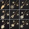 SMJEL Edelstahl Halsketten für Frauen Vintage Fashion Bohemian Blumen Leben Baum Feder Schneeflocke Halskette Ohrringe Schmuck