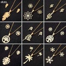 SMJEL – colliers en acier inoxydable pour femmes, Vintage, style bohème, fleur, arbre de vie, plume, flocon de neige, boucles d'oreilles