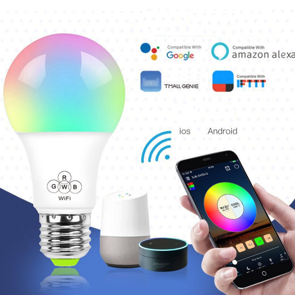 Dimmable E27 RGB LED Wifi Smart Light Bulb for Amazon Alexa Google Home TP899