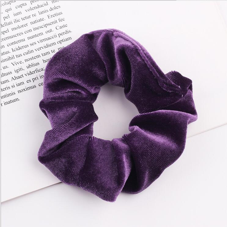 33 цвета, корейские Бархатные резинки для волос, эластичные резинки для волос, одноцветные женские головные уборы для девушек, заколки для волос с конским хвостом, аксессуары для волос - Цвет: Violet