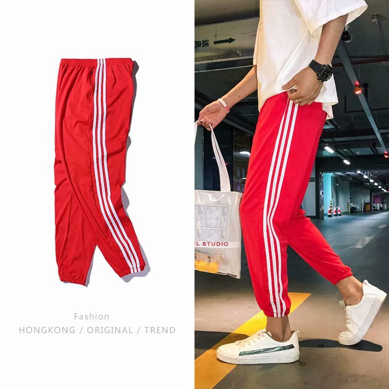NS Super Fire Pants Men's Trend Summer Casual Capri Pants Harajuku BF Style Loose-Fit Couples Men And Women Athletic Pants