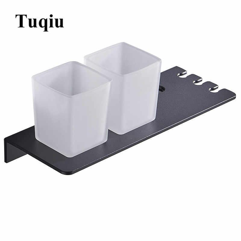 Tuqiu כפול מברשת שיניים מחזיק עם שן מחזיק אלומיניום שחור כוס & מחזיק כוס קיר רכוב או נייל משלוח אמבטיה מוצר