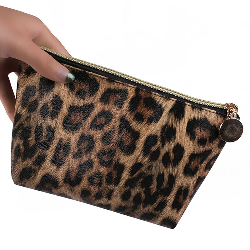 1Pc Fashion Leopard Cosmetic Bag Portable Square Toiletry Bag Cosmetic Makeup Pouch Case Organizer For Travel Leopard Print Bag