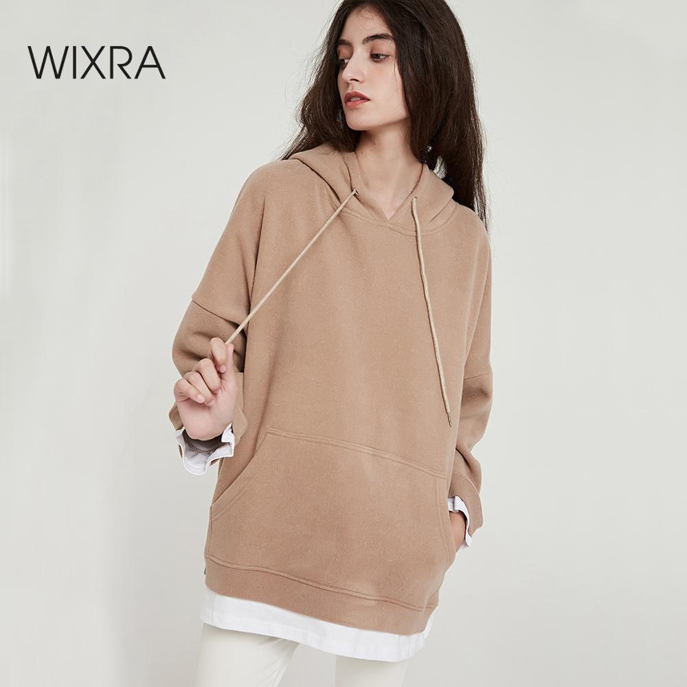 Wixra Women Casual Sweatshirts Warm Velvet Long Sleeve Oversize Hoodies Tops 2019 Autumn Winter Pullover Tops