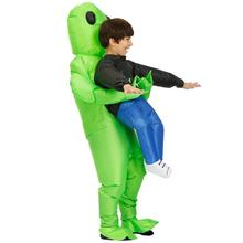 New Green alien Costume Adult kids Funny Inflatable Blow Up Suit Halloween costume Fancy Dress Party Costume Unisex