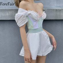 Forefair 2021 Women Sexy Corset Crop Top Lace Bow Tie Summer Backless Strapless Off Shoulder Bustier Y2k Tops Tank Fashion