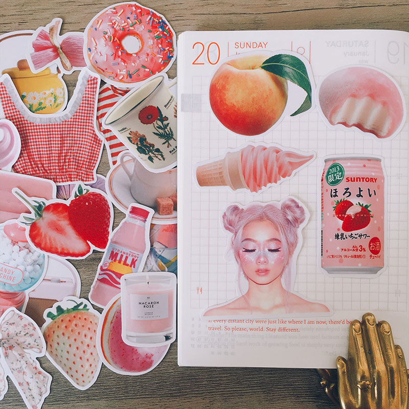 29PCS Pink Ins Girl Color Stickers Crafts And Scrapbooking Stickers Book Student Label Decorative Sticker DIY Stationery