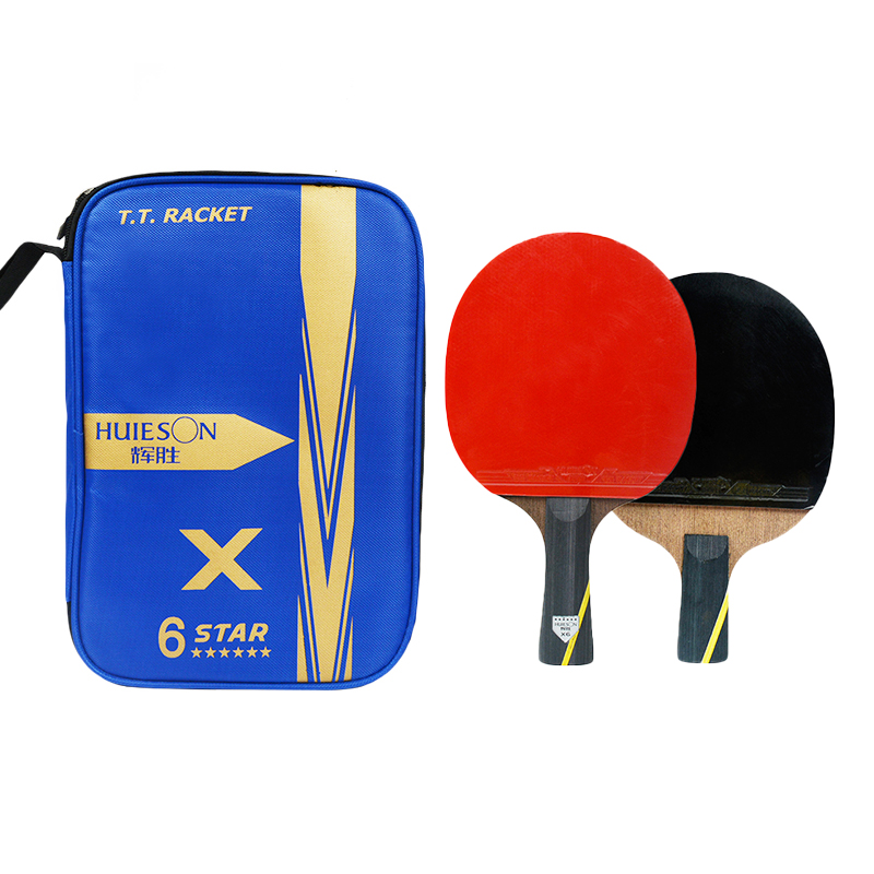 Huieson 2Pcs Upgraded Table Tennis Racket 6 Star Wenge Wood & Carbon Fiber Blade Super Powerful Ping Pong Racket Bat With Cover