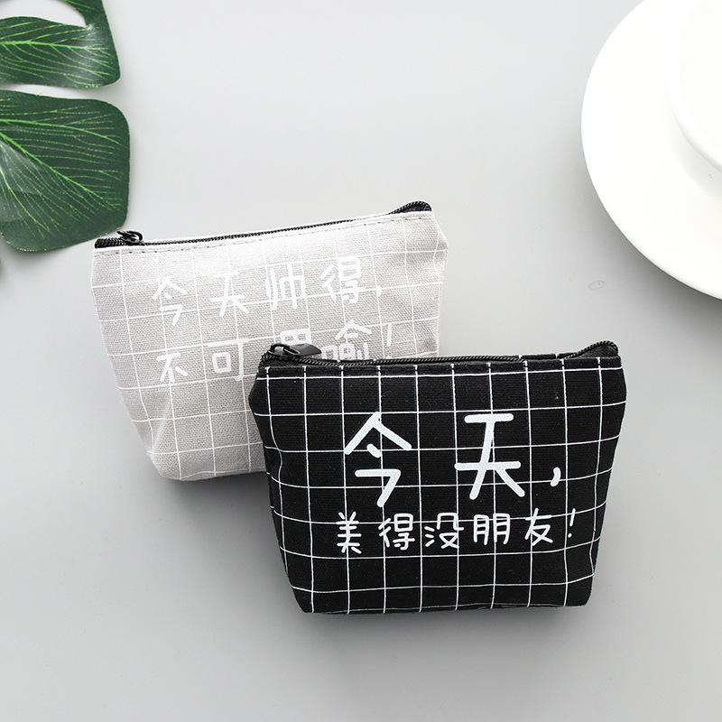 DL Funny Text Zero Purse Japanese And Korean Canvas Receiving Bag Creative Small Fresh Wallet Bag Letters Zipper