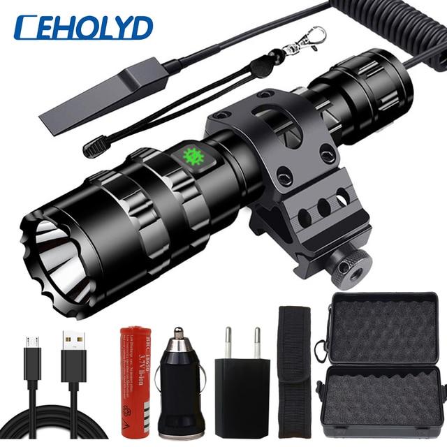 LED 손전등 전문 전술 손전등 토치 사냥 밤 스카우트 세트 L2 물고기 빛 USB 충전식 방수