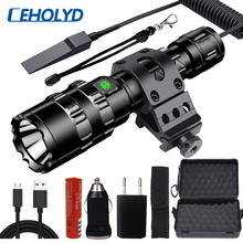Linterna LED táctica profesional, linterna para caza y explorador, juego de luces L2 para peces, recargable vía USB, resistente al agua