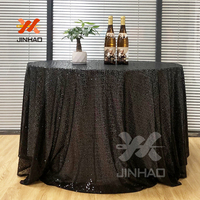 100% Polyester Round Table Cover Glitter Black Tablecloth for Wedding