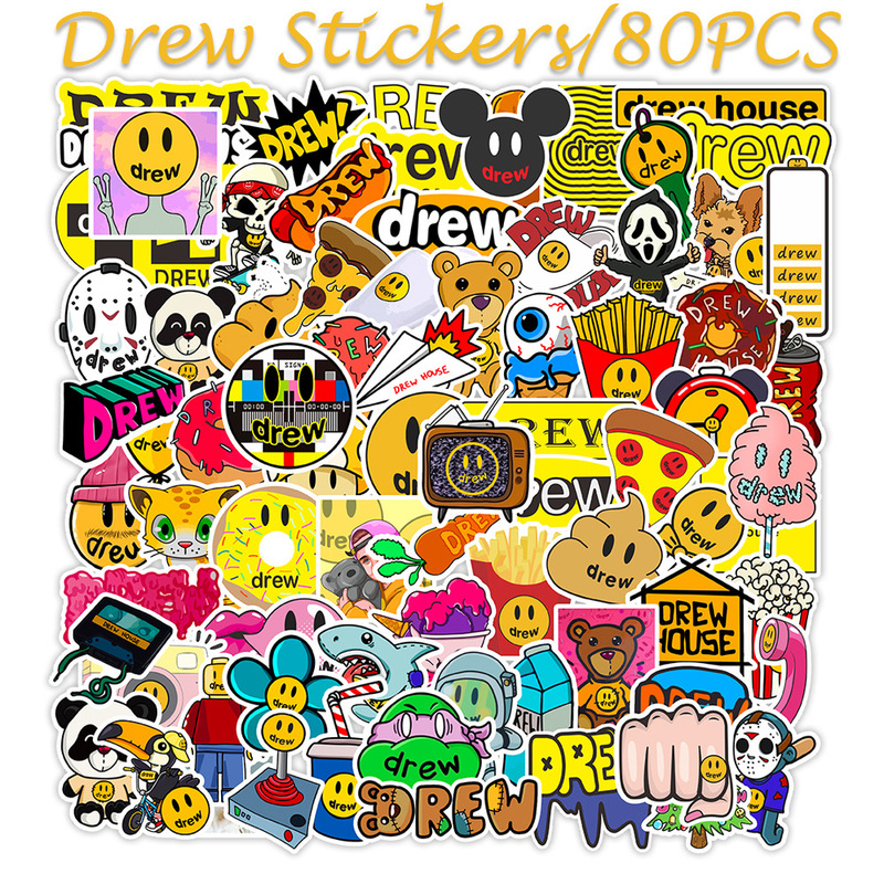 80PCS Singer Justin Bieber Drewhouse Sticker Pack For PC Suitcase Laptop Motorcycle Styling Cool Cartoon Stickers