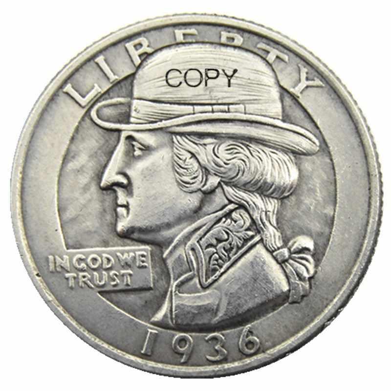 W (07) Hobo Creatieve 1936 Washington Quarter Dollar Creatieve Kopie Munten