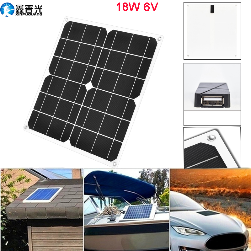 Xinpuguang Flexible Solar Panel 6v 18w Portable Solar Charger 20w Outdoor 5v Usb For Mobile Cell Phone Tablet Camping Hiking