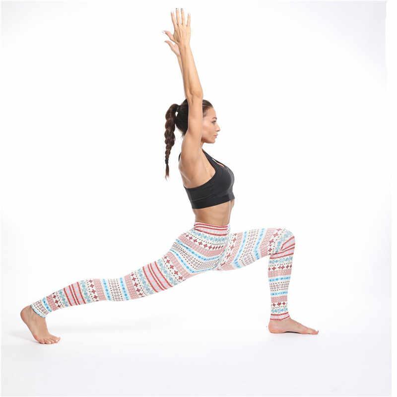 Nova impressão de natal magro yoga calças joggers mulheres cintura alta esportes fitness quadris leggings casual pantaloni donna 2019 moda