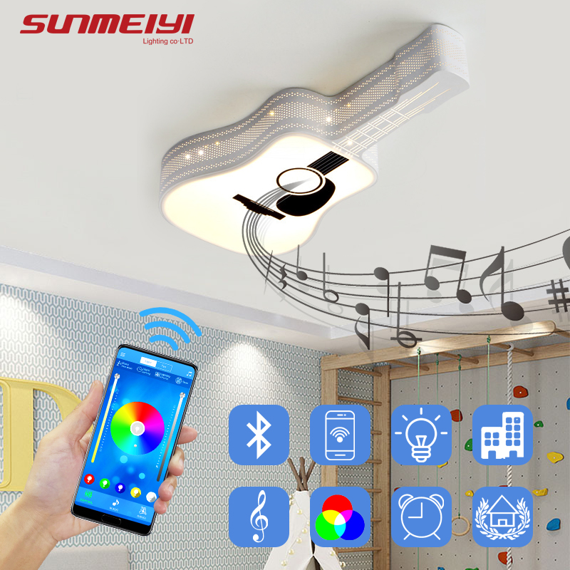 Modern Guitar LED Ceiling Lights For Living room Bedroom Kitchen Bluetooth Dimmable Smart Lamp Kids Light with APP