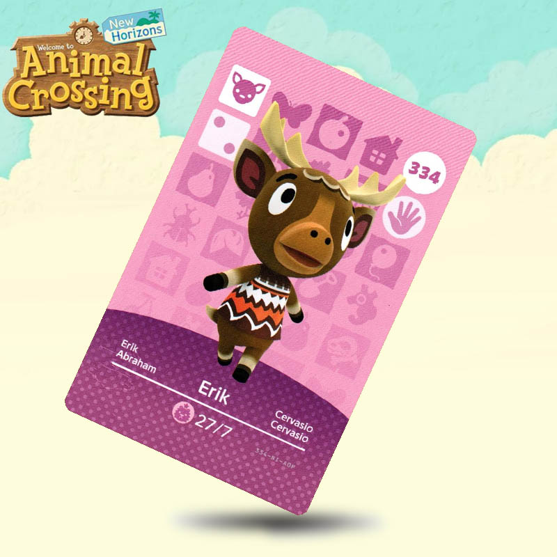 334 Erik Animal Crossing Card Amiibo Cards Work For Switch NS 3DS Games