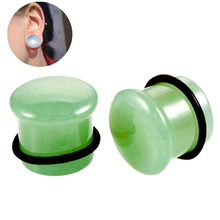 1Pair Natural Stone Ear Flesh Tunnel Plugs Piercing Single Flared White Opal Gauges Expander 6mm-16mm Jewelry