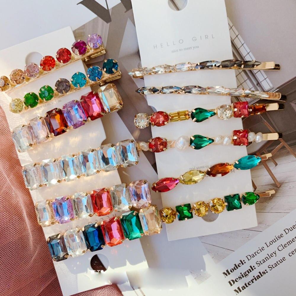 Vintage Pearl Hair Clip Elegant Shiny Crystal Hairgrips Geometric Waterdrop Colorful Rhinestones Hairpins Hair Accessories