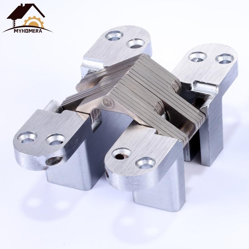 Myhomera Stainless Steel Hidden Hinges 10kg 13*45mm Built-in Concealed Cross Heavy-loading Folding Door Hinge Furniture Hardware