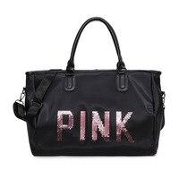 AMLETG Brand Sequin Letter Travel Bag 2019 New Portable Fitness Bag Waterproof Mountaineering Bag Duffel Bag Pink Weekend Bag