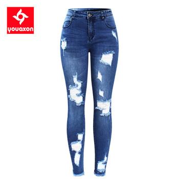 2127 Youaxon nowe S-XXXXXL Ultra rozciągliwe niebieskie frędzle porwane jeansy damskie denimowe spodnie spodnie dla kobiet ołówkowe obcisłe dżinsy tanie i dobre opinie Pełnej długości Poliester Elastan COTTON High Street Stripe Ołówek spodnie skinny Moustache Effect Udzielenie light