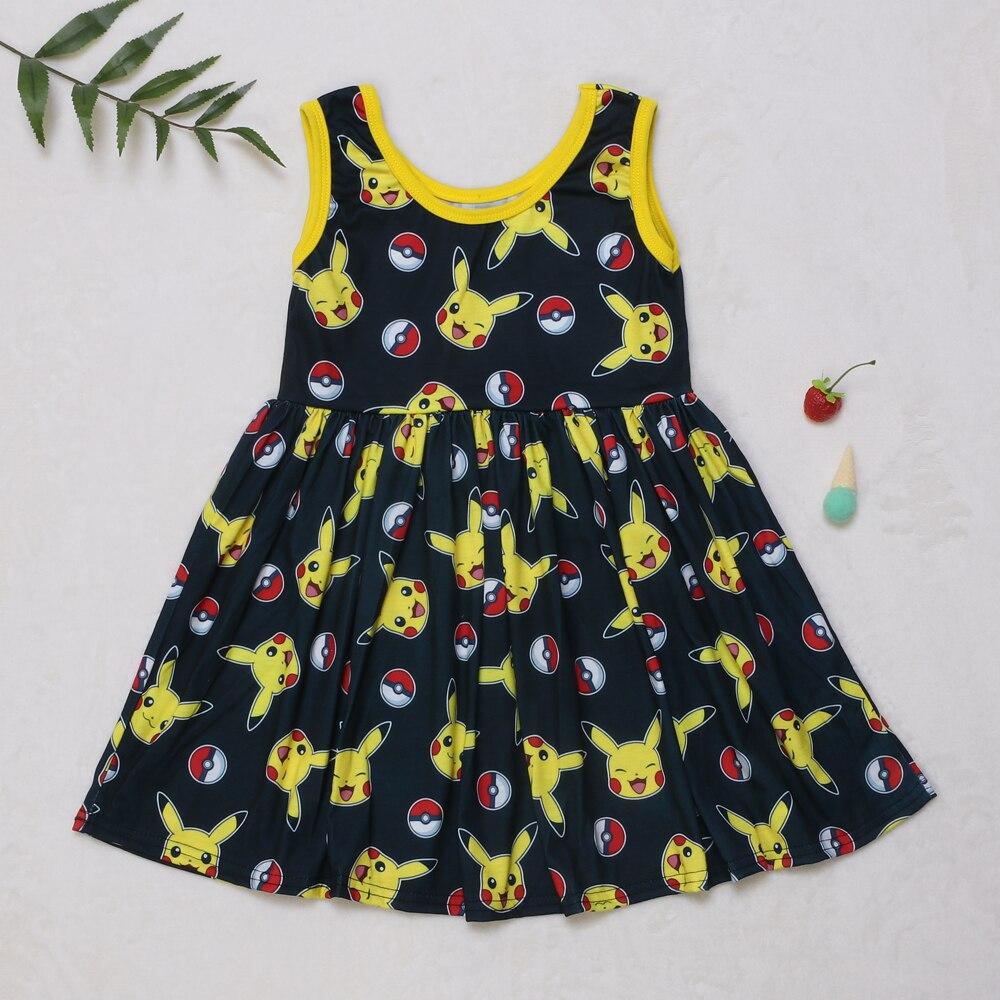 Bonito dos desenhos animados menina impresso vestido de traje para crianças LYQ906-835