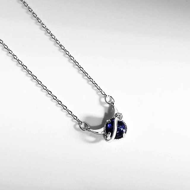 Genuine Real Pure Solid 925 Sterling Silver Pendant Necklaces Women Jewelry Blue Crystal Female Chain Necklace Choker 2