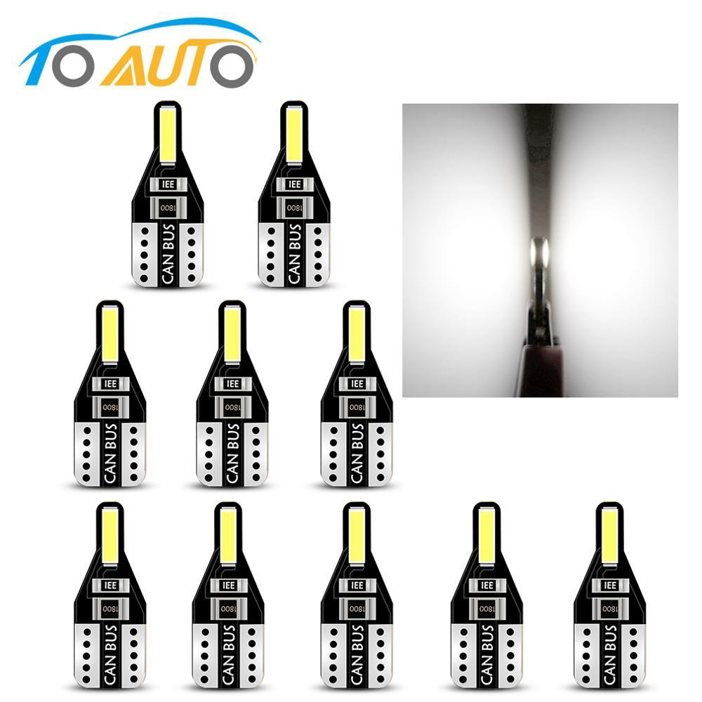 10pcs T10 194 168 Led Canbus W5W Led No Error Interior Car Lights Auto Lamp Reading Dome License Plate Light White 12V